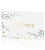 Goudfolie save the date kaart met takjes