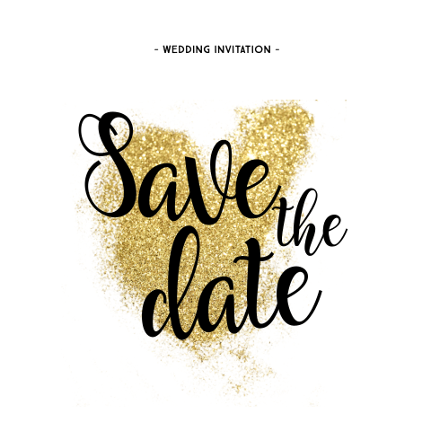 Trendy save-the-date-kaart met glitterhart