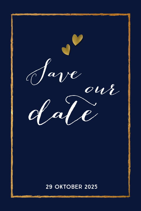 Chique save-the-date-kaart in marineblauw