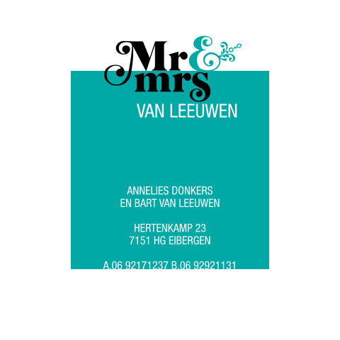 Moderne trouwkaart - Mr & Mrs