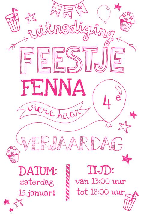 Onwijs Hippe kinderfeestje uitnodiging 4 jaar voor meisje met illustraties PK-09
