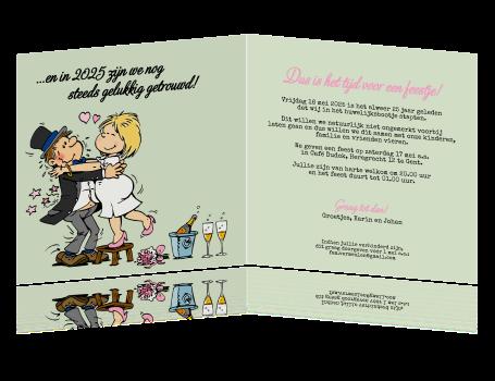 Grappige Uitnodiging 25 Jarig Huwelijksfeest Met Cartoon