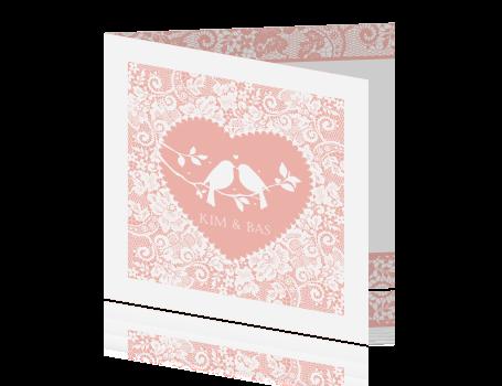 Beste Romantische trouwkaart met vogels in een hart ZV-73