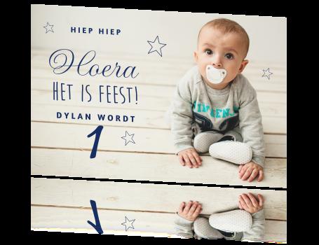 Hedendaags Hippe uitnodiging zoontje 1 jaar met sterren DP-39